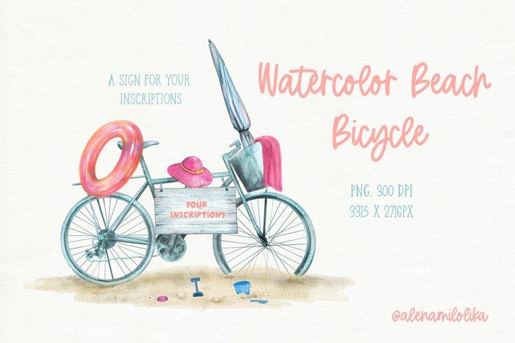 Watercolor beach bike. Summer. Childrens game