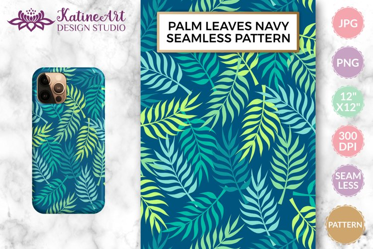 Palm tree leaves navy. Summer tropical seamless pattern. example image 1