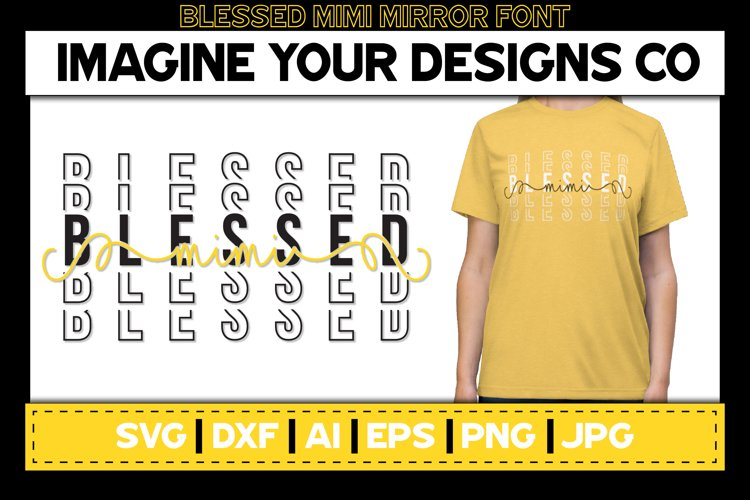 Blessed Mimi Stacked Mirror Knockout SVG Sublimation Design