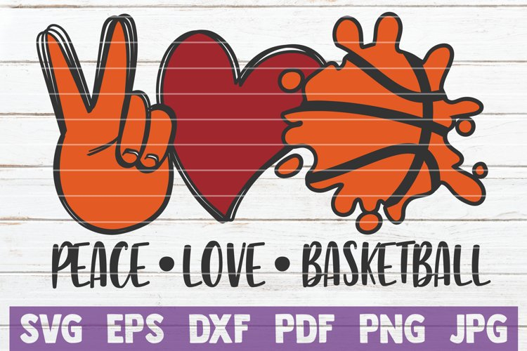 Peace Love Basketball SVG Cut File example image 1
