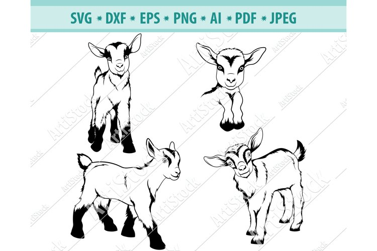 Goat Svg File, Peeping Goat Svg, Small goat Dxf, Png, Eps example image 1