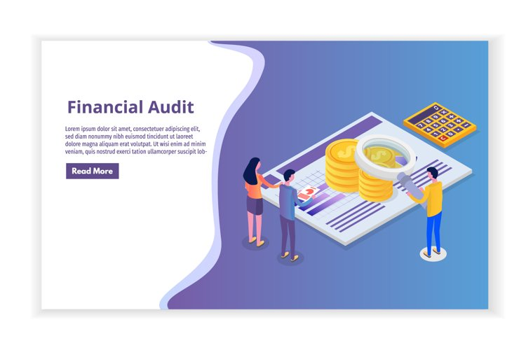 Financial administration, examiner, audit isometric concept