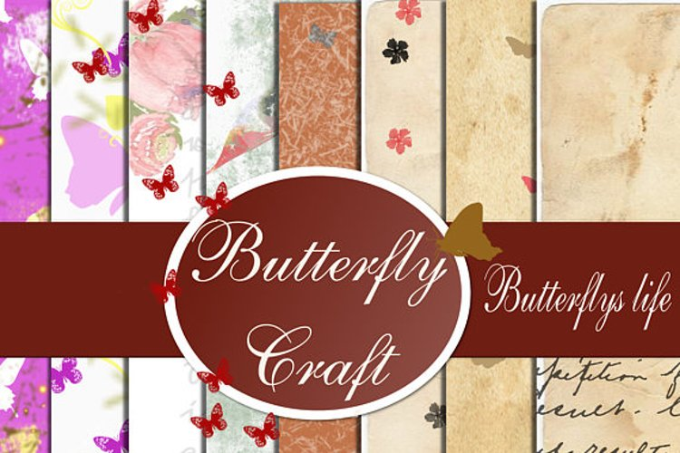 Butterflys Digital Paper, Vintage paper , Butterfly clip art example image 1