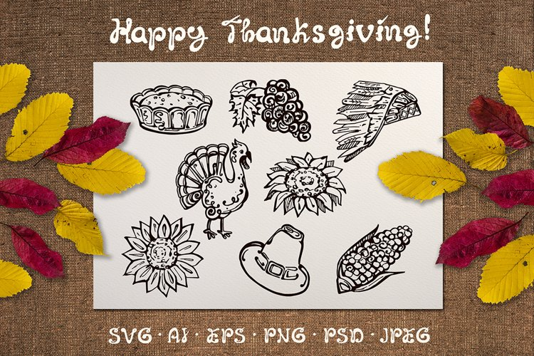 8 Thanksgiving elements | SVG AI EPS PNG PSD JPEG example image 1