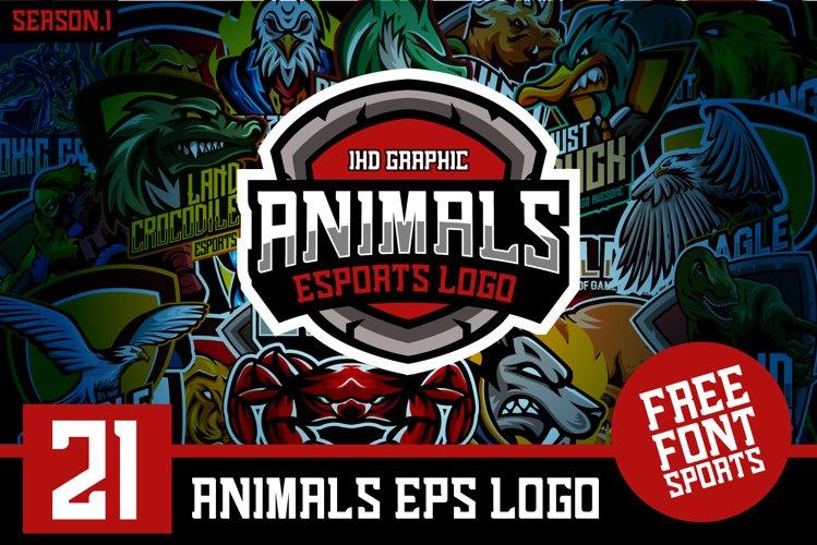 21 Set Animals Logo esports Gaming Include Free Font example image 1