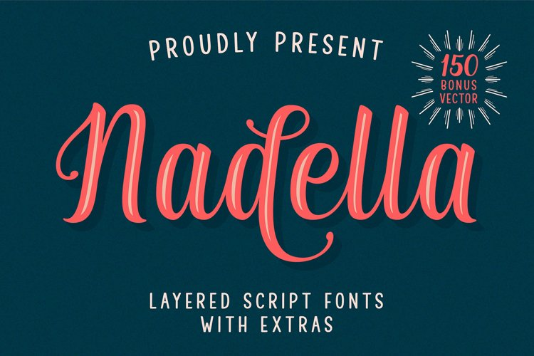 Nadella Layered Script Font example image 1