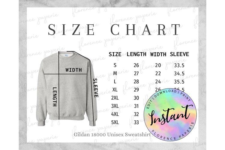 Gildan 18000 Sweatshirt Size Chart, Unisex Crewneck example image 1
