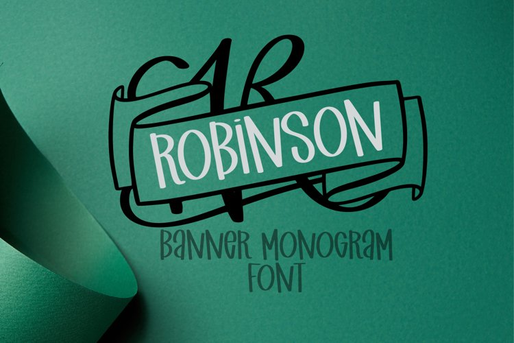 Monogram Banner Font - Banner Letters For Names example image 1