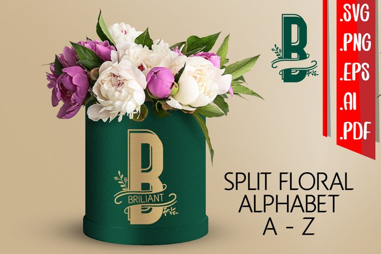 Split Floral Alphabet A-Z svg eps ai png example image 1