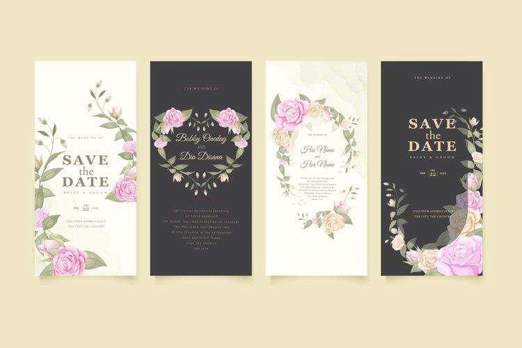 elegant wedding invitation set with beautifull rose and leaf