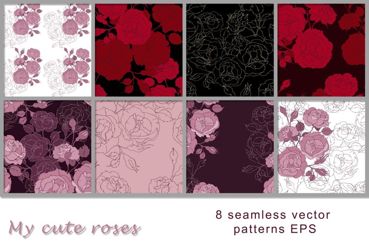 8 Vector floral seamless patterns of roses, EPS