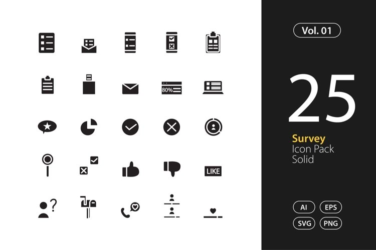 Survey Icon Solid SVG, EPS, PNG example image 1