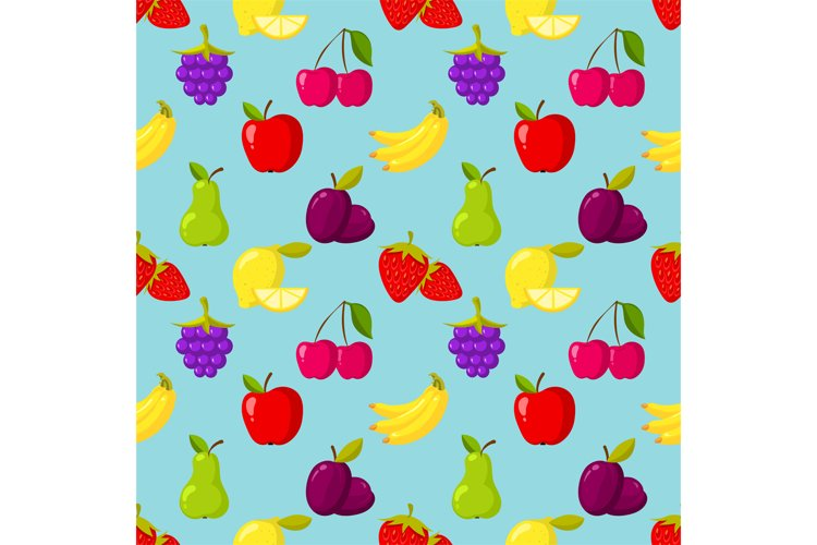 Seamless vector pattern with fruits and berries example image 1