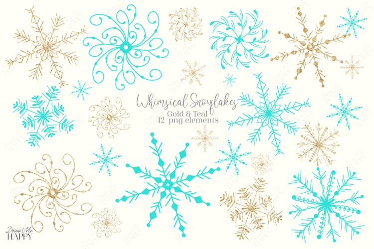 Snowflake Clipart, Gold Snowflake, Blue Snowflake, Christmas example image 1