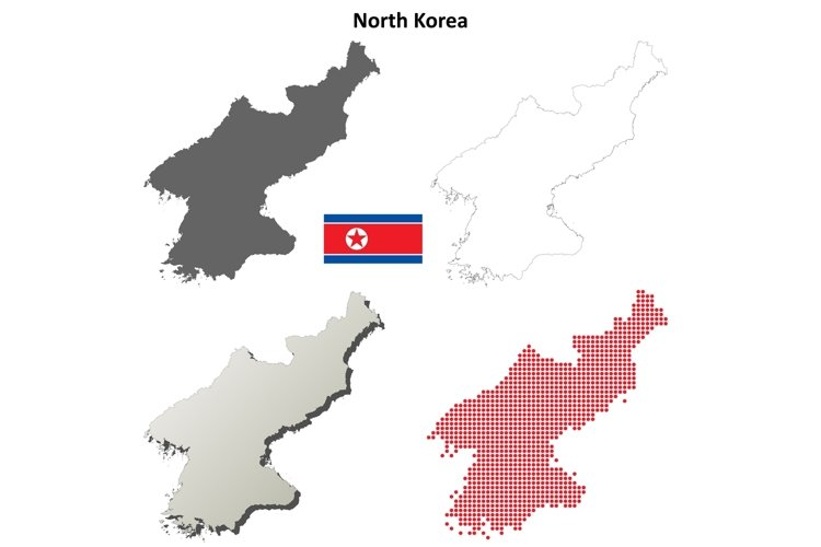 North Korea outline map set example image 1