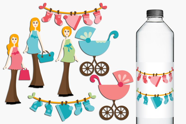 Blonde Mom to be, Pregnant Woman Illustrations example image 1