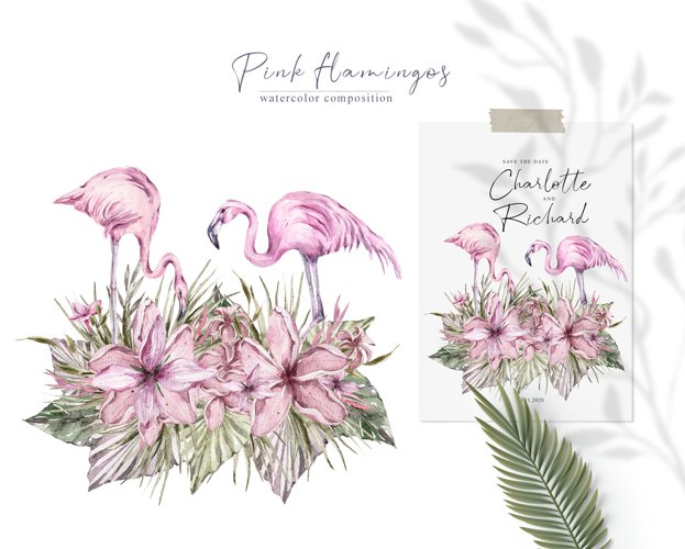 Watercolor pink flamingo clipart Valentines day illustration example 1
