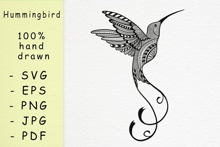 Hand drawn Hummingbird with patterns