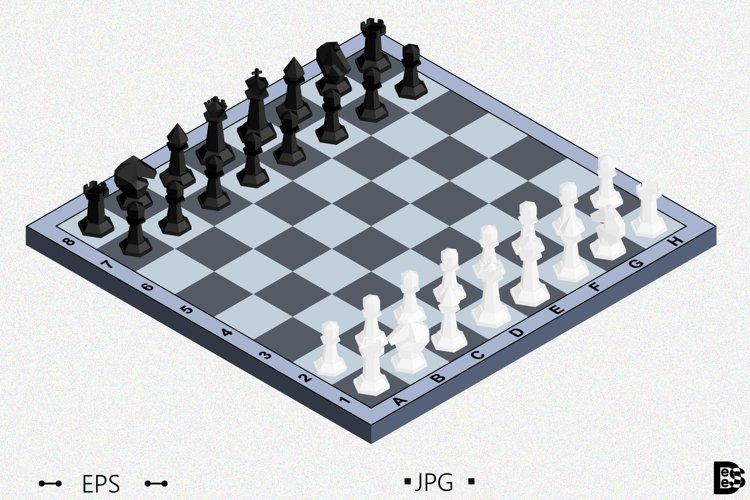 Chess board with figures. 3d Isometric Vector illustration example image 1