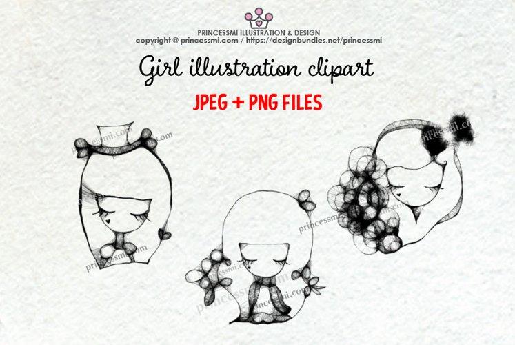GIRLS illustration clipart 2