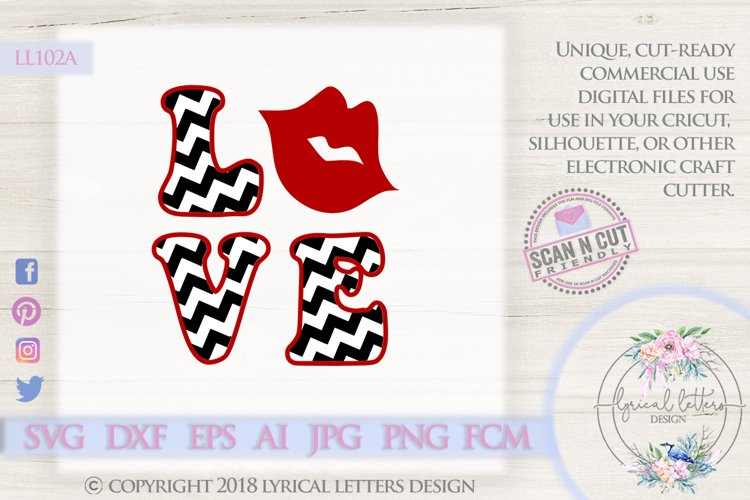 Chevron Love with Lips Valentine's Day SVG DXF LL102A example image 1