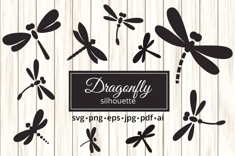 Dragonfly Silhouettes Clipart with SVG PNG PDF JPG format