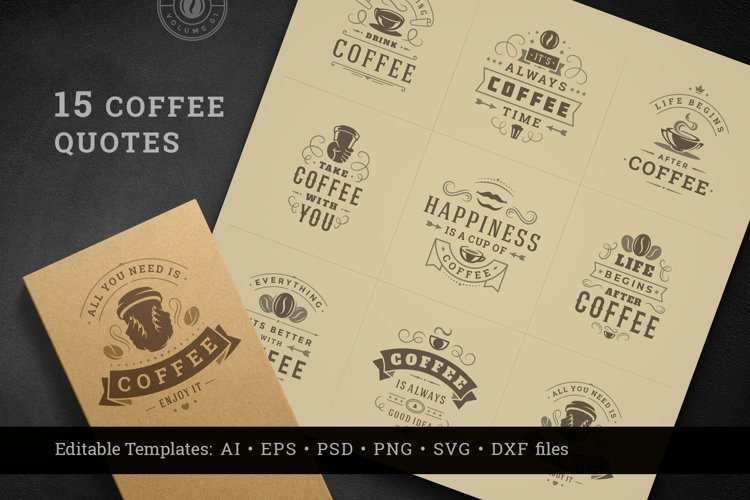 Coffee Quotes and Phrases set example image 1