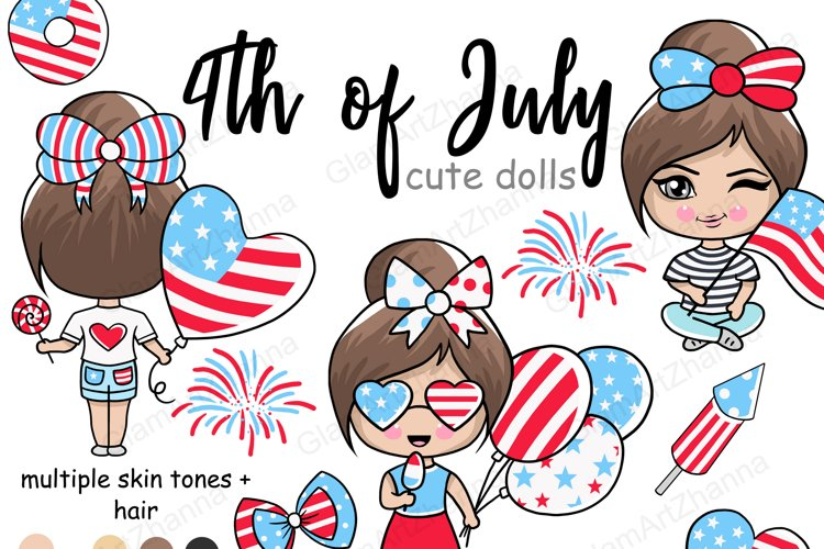 4th of July CUTE DOLLS Independence Day USA American PNG example image 1