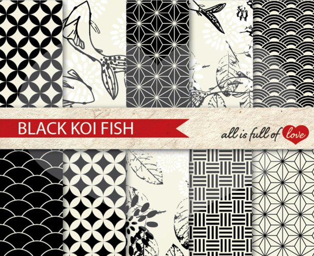 Japanese Backgrounds Black and White Digital Graphics example image 1