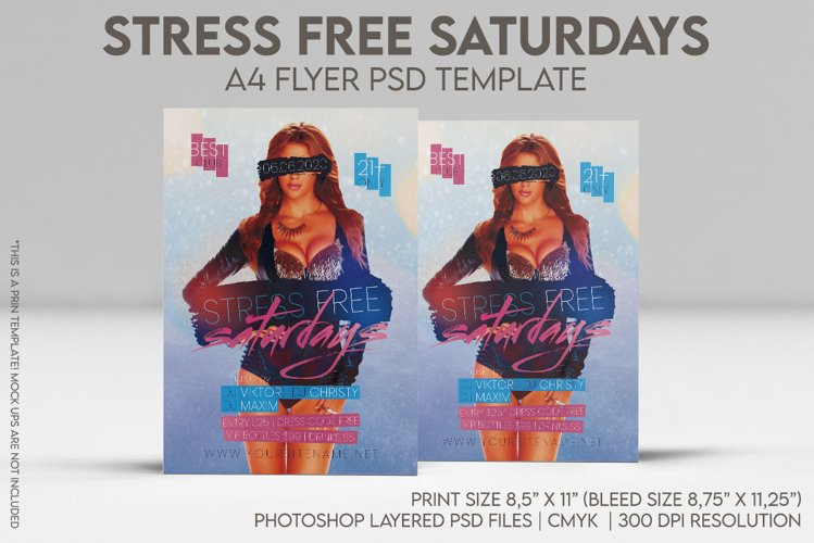 Stress Free Saturdays A4 Flyer PSD Template example image 1