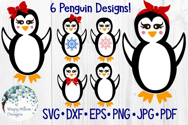 Girl Penguins | Winter | Christmas| SVG Cut File and Clipart example image 1