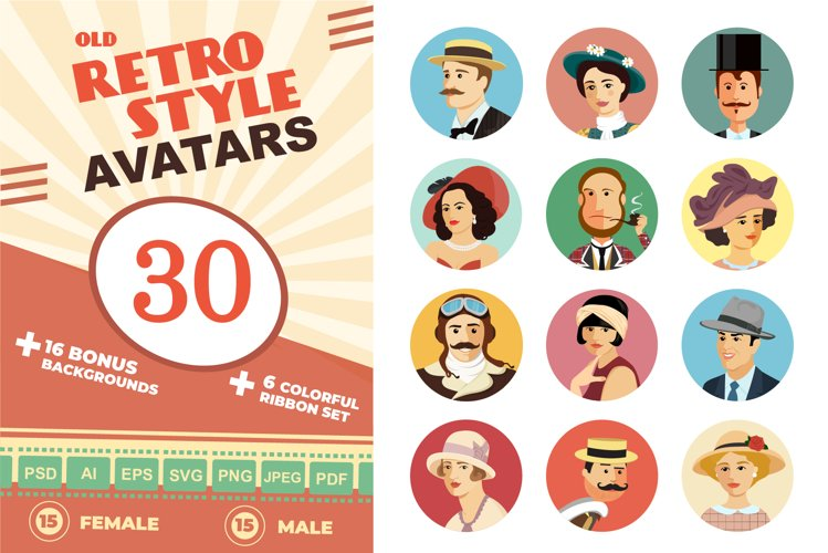 Avatars Retro people vector cartoon
