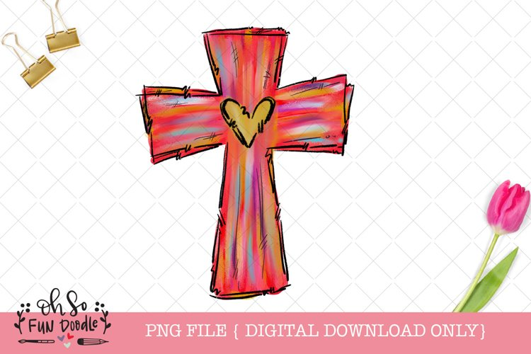 Easter cross with heart, sublimation design example image 1