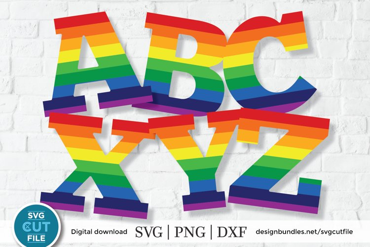 Rainbow letters svg, rainbow alphabet svg, gay pride letters example image 1