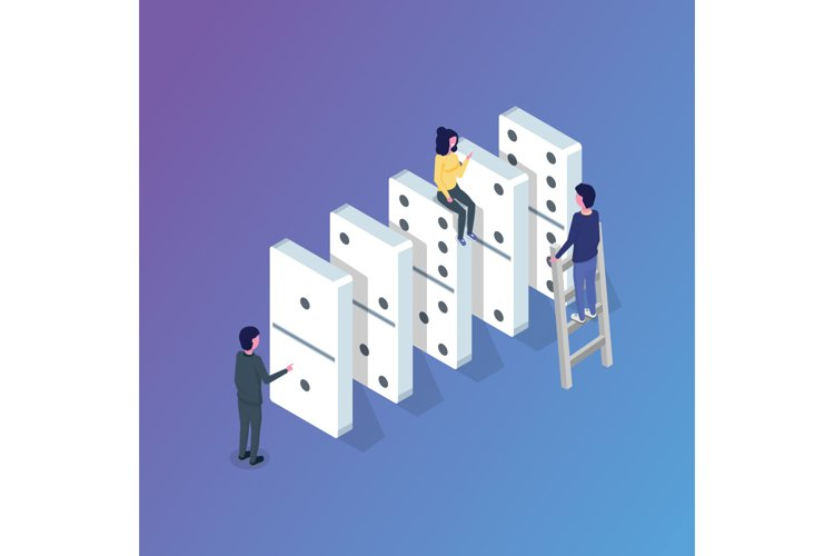 Domino isometric concept. Vector illustration in flat style example image 1
