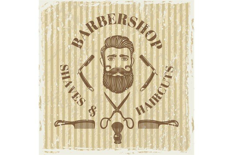 Barber shop vintage poster. Grunge style example image 1