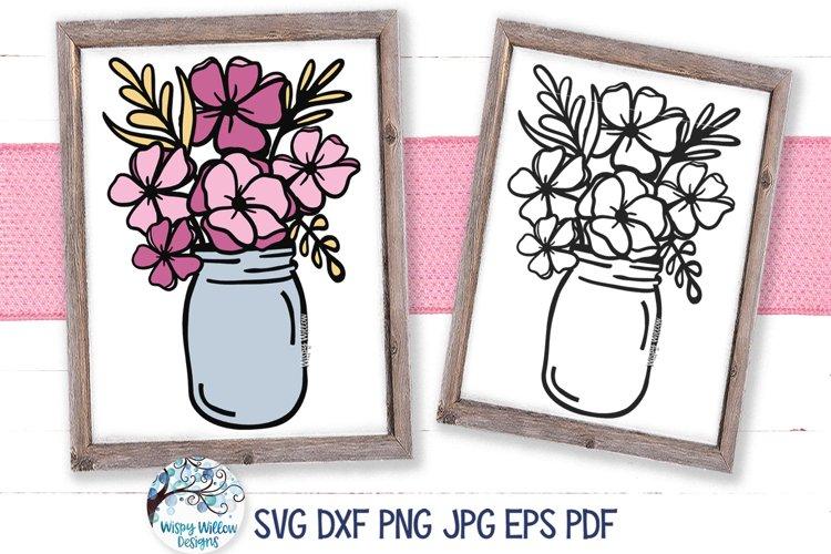 Flowers in Mason Jar SVG Cut File | Spring Flowers