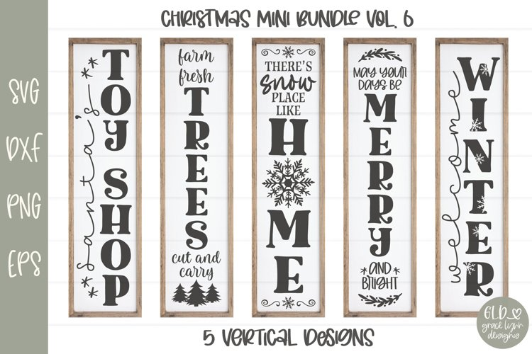 Christmas Sign Bundle VOL. 6 - 5 Vertical Christmas Designs example image 1