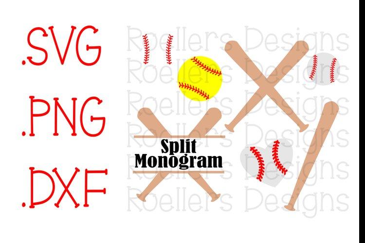 Softball svg, Baseball SVG, Cricut, SVG, DXF, softball dxf, baseball dxf, split monogram, spring, spring svg, spring dxf, stitches, baseball monogram example image 1