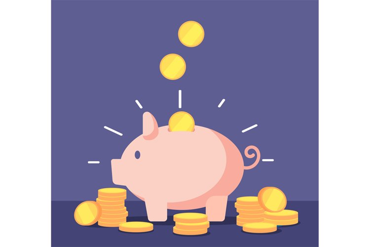 Piggy bank with golden coins. Save money deposit banking and example image 1