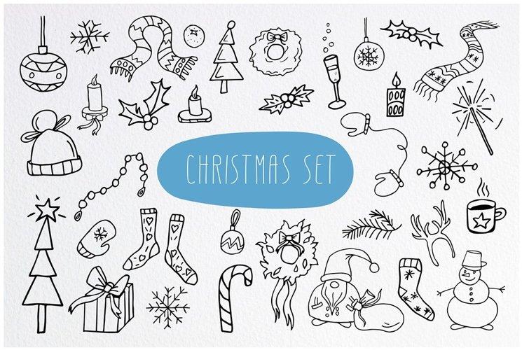 Christmas Doodle set. 72 PNG clipart. Big winter PNG bundle