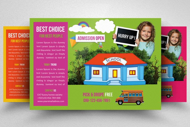 Admission Open Horizontal Flyer Template example image 1
