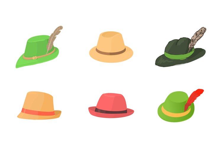 Panama hat icon set, cartoon style example image 1