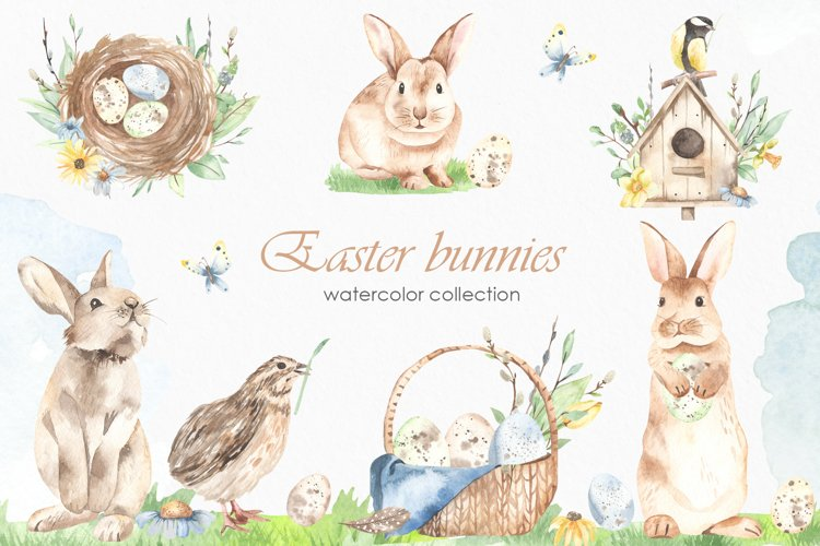 Easter bunnies watercolor example image 1