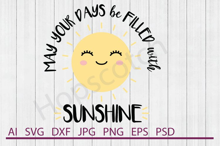Sun SVG, Smiling Sun SVG, DXF File, Cuttable File example image 1