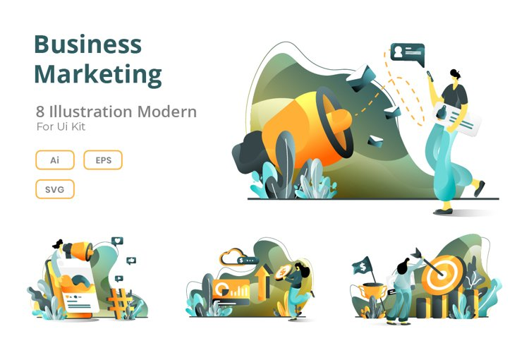 Business Online Marketing set flat illustration