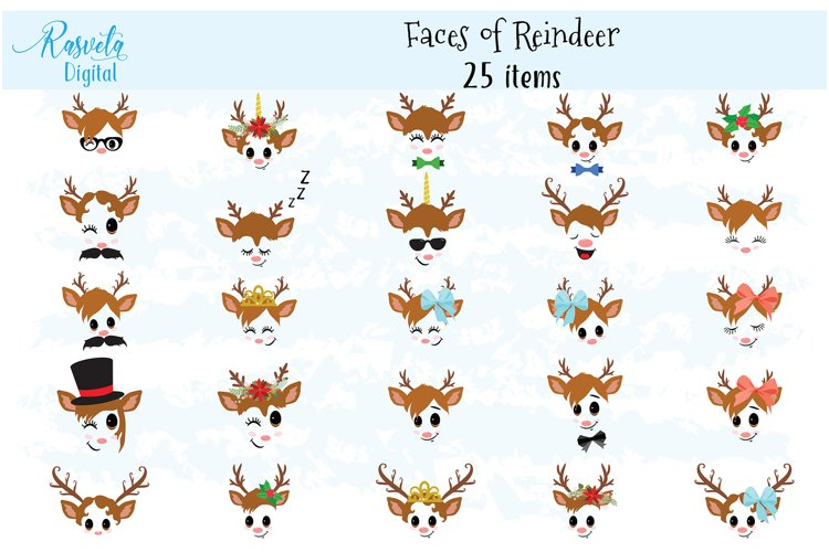 Christmas Decor Reindeer Faces set 2 example image 1