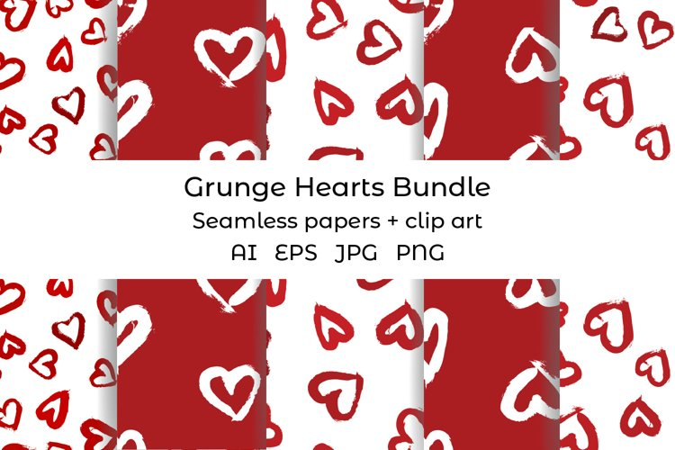Hearts digital paper. Grunge heart clipart. Heart pattern example image 1