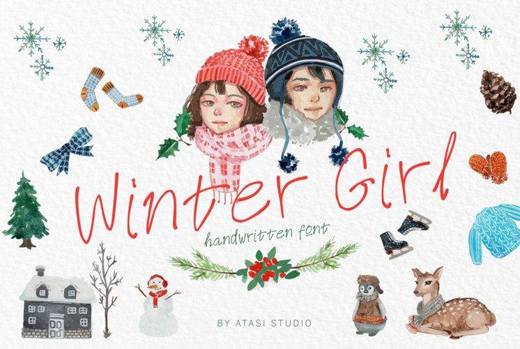 Winter Girl Font & Watercolor Winter Theme Bundle example image 1