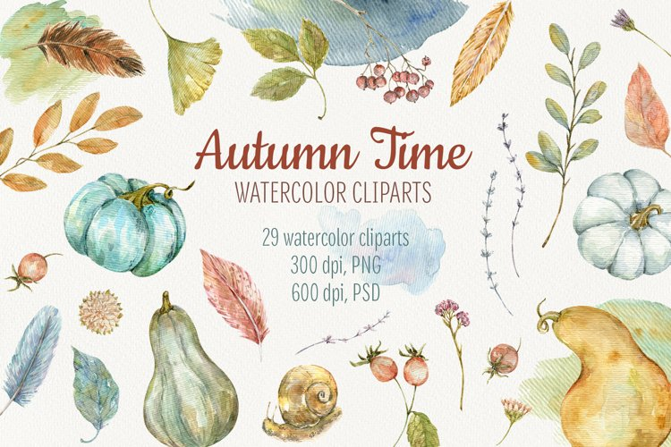 Autumn Time. Watercolor isolated cliparts example image 1
